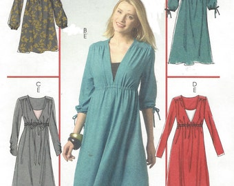 Womens Pullover Dress in 3 Lengths and Camisole Empire Waist OOP McCalls Sewing Pattern M5535 Size 8 10 12 14 16 Bust 31 1/2 to 38 UnCut