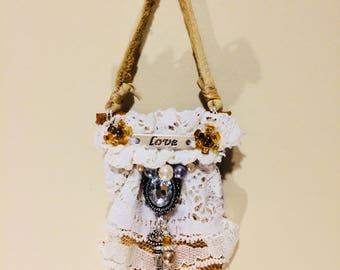 Leather Handmad Vintage Lace Ornament OOAK Christmas