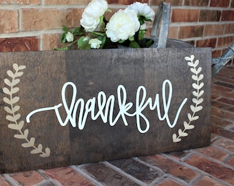 Thankful Wood Sign | Thankful Sign | Fall Decor Sign