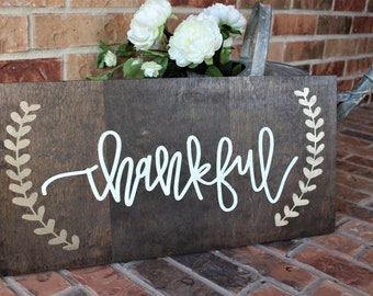 Thankful Wood Sign | Thankful Sign | Fall Decor Sign