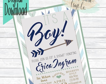 It's A Boy! Baby Shower Invitation,Hispter,Arrow,Trendy,Boy Baby Shower,Invitation,Printable,Navy,Mint,Blue,DIY,Digital Download,Shabby Chic