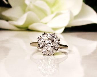 Antique Engagement Ring 0.46ctw Old Mine Cut Diamond Cluster Ring 18K/14K White Gold Daisy Diamond Wedding Ring Size 8