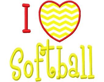 I Love Softball Heart Applique 4x4 5x7 6x10 Machine Embroidery Design Instant Download sports girls shirt bib ncaa college high school