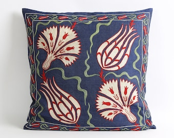 White floral Navy blue suzani silk embroidery pillow cover, 20x20 Suzani Decorative Pillow Cover