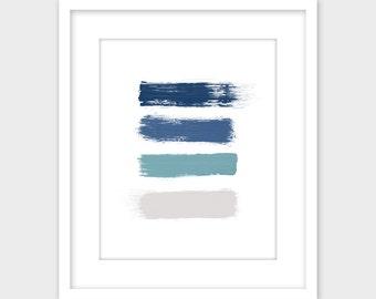 Blue & Gray Brush Strokes Abstract Art Print, Minimalist Modern Printable Art, Office Home Decor Instant Digital Download 11x14, 8x10