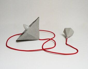 Geometric Lamp Paper Pendant Lamp Paper Lamp Shade Hanging Lamp Ceiling Light Modern Lamp Minimalist Lamp Paper Mache Lamp Amethyst Grey