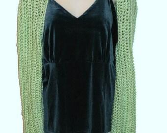 Green Shrug, Womens Plus Size, Plus Size Sweater, Plus Size Shrug, Womans Green Sweater, Long Sleeve Shrug, Plus Size Clothing