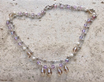 long or double strand rosary necklace, multistrand bracelet, with lavender crystal beads, jonquille crystal drops and freshwater pearls