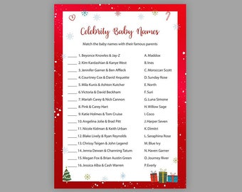 Christmas Baby Shower Games, Celebrity Baby Name Game, Winter Baby Shower Games, Red Baby Shower Printable, Celebrity Baby Names, S029