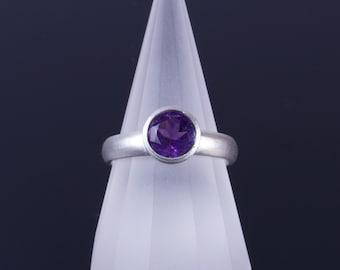 Dark Amethyst 7mm Round Bezel Sterling Silver Comfort Fit Ring