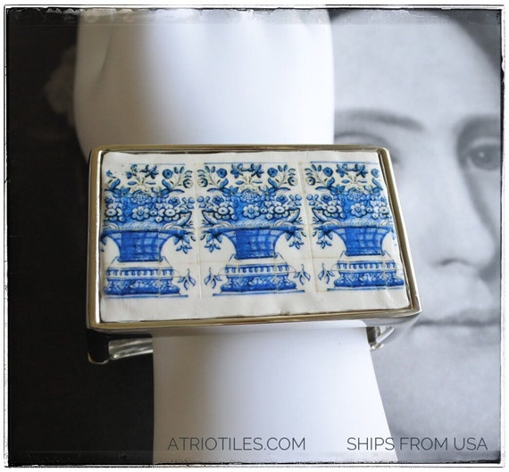 Bracelet Portugal Tile Portuguese Azulejo Antique Óbidos Floral Vase  Gift Box Included -Romantic Ships from USA Cuff