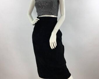 Vintage Danier leather black pencil midi skirt, vintage leather midi, genuine vintgae leather