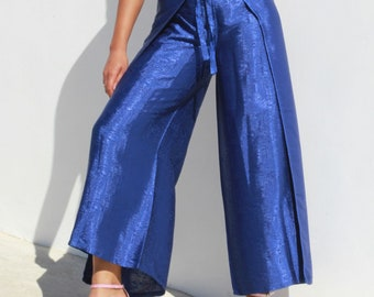 Silk Wrap Pants (Blue)