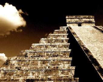 Ruins El Castillo, Chitzenitza - Yucatan Peninsula, Mexico /  8 X 10 Photo Print/ Affordable Home Decor/ Fine Art Photography/ Fall Decor