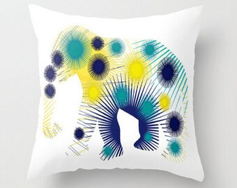 Elephant Pillow Cover, Decorative Pillow, Cushion Cover, Elephant lover git, teal yellow navy white, throw pillow cover