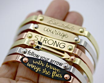 You choose saying adjustable metal cuff Strong Courage Beautiful Arrow Copper Silver Gold