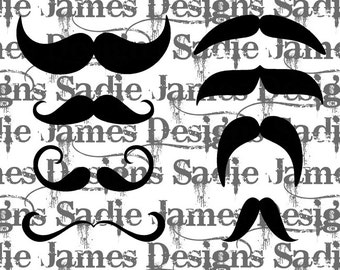Mustache photo props SVG and Silhouette Studio cutting file, Instant Download