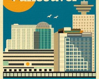 SALE Vancouver 8x10 Skyline Print, Vancouver Wall Art, Vancouver Vertical Print, Vancouver Canada Art, Vancouver Digital Art -style E8-O-VAN