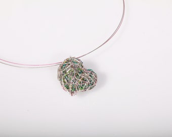 Heart necklace, pink green necklace, wire sculpture art pendant, unique valentine's gift for her, modern hippie, everyday, pastel jewelry
