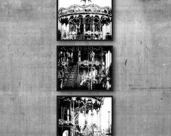 Paris Wall Art Decor, Set of 3 Prints, Paris Wall Prints, Paris Travel Art, Carousel Photos, Fairground Pictures, Merry Go Round Photographs