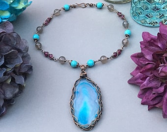 Blue Agate Slice Necklace