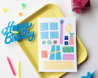 Birthday presents, brightly coloured gift patterned A6 Illustrated greetings card.  Perfect for Kids party invites, happy birthday and more!