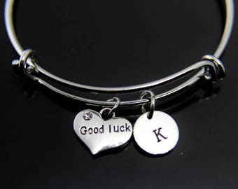 Good Luck Jewelry Good Luck Charm Bracelet Good Luck Charm Bangle Silver Good Luck Charm Good Luck Gift Personalized Bangle Initial Charm