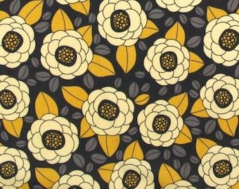 FABRIC PATCHWORK graphite and JOEL DEWBERRY AVIARY yellow
