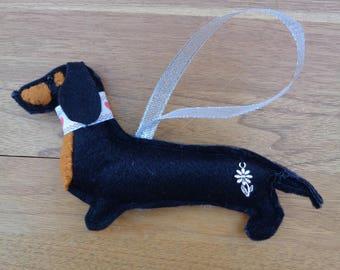 Handmade black felt Dachshund, Sausage dog hanging decoration