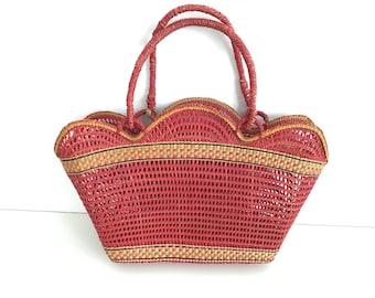 Straw Bag - straw basket - Summer carrycot bag - beach bag - basket - wicker bag - market bag - Vintage straw bag - woven straw bag
