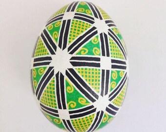 Ukrainian pysanka on chicken egg