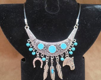 country leather necklace with turquoise beads