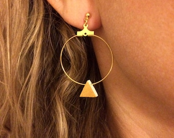 Earrings Hoop and wood