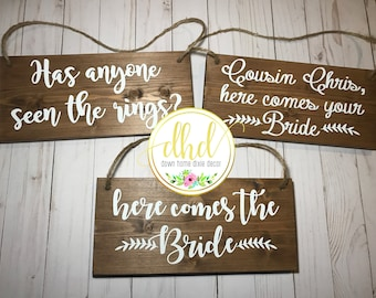 3 Ring Bearer Signs-Wedding Signs-Flower Girl-Ring Bearer-Rustic-Two Ring Bearer Signs-Country-Wedding Ceremony-Multiple wedding signs
