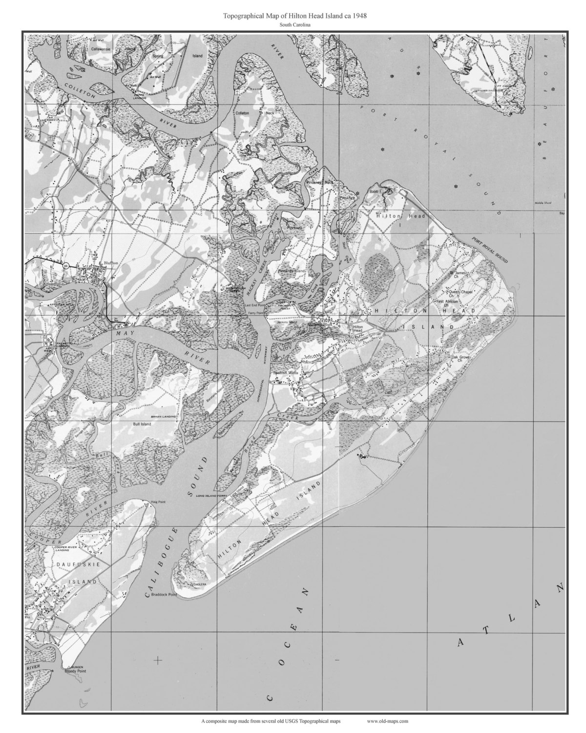 Hilton Head Island Black White 1948 OId Topographic Map