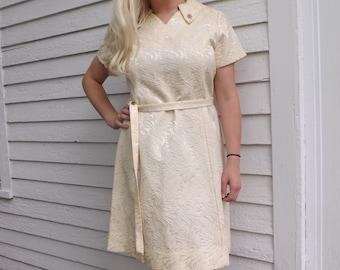 60s Gracie Square Originals Dress Vintage Ivory Mod L XL