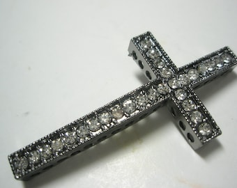 CLOSEOUT -CLEARANCE - Gunmetal/ Pewter Cross Connector Spacer with Rhinestones - 2 pieceS
