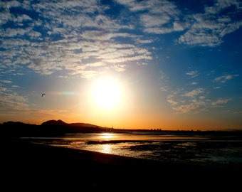 Smoky Sunset Original Photographic Print Digital Download Firth of Forth Scotland