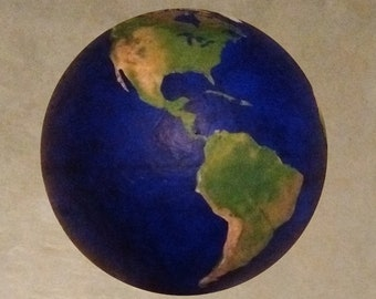 4 inch wide Earth without clouds.