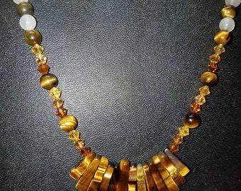 Neclace - Tiger Eye, Moonstone, Swarovski Crystals