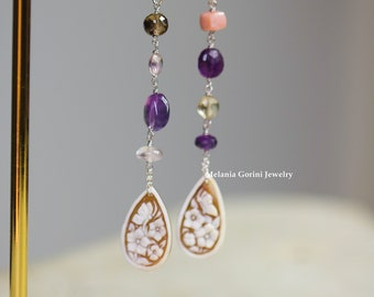 FLORALIA Earrings - 925 sterling silver earrings with authentic Sardonyx shell cameos and semiprecious stones-faceted natural stones