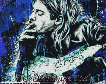 Modern Cross Stitch Kit 'Kurt Cobain' By Sara Bowersock - Needlecraft Kit - Musician