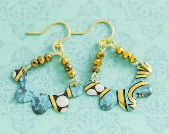 Teal Blue and White Vintage Tin Earrings with Scalloped Edges and Metallic Gold Beads, Recycled Jewelry, Vintage Tin Jewelry