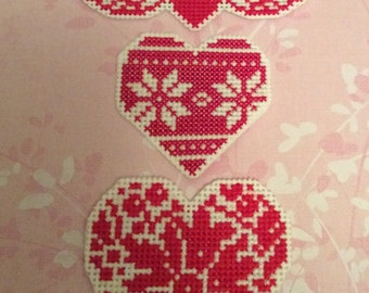 Heart fridge magnet,  cross stitch heart magnet,  stitch magnet, heart with wing, st valentine gift, valentine heart, Nordic heart