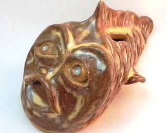 Creepy Brown and Cream Fish Bank Stoneware Carved Fish Bank Clay Bank