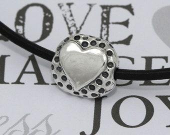 Artisan Sterling Silver Heart Bead – Sterling Silver Bead – Sterling Silver Findings – Artisan Silver Beads – Bracelet Beads – Sterling Bead
