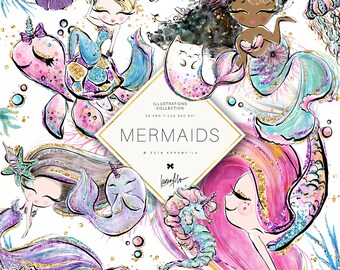 Mermaid Clipart Unicorn Clipart Underwater Clipart Cute Ocean Animals Cat-Fish Whale Seahorse Mermaid Planner Stickers Purple Glitter ECLP