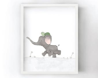 Elephant and Turtle Nursery Art Print - Safari Kids Room, Elephant Drawing, Kids Wall Art, Green and Grey