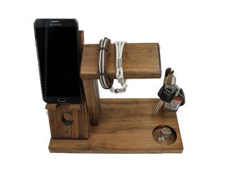 iPhone Dock Station with Key Holder / iPhone Valet / Watch Stand / Docking Station / Cell Phone Organizer  / 10 color options  (1H 1K)