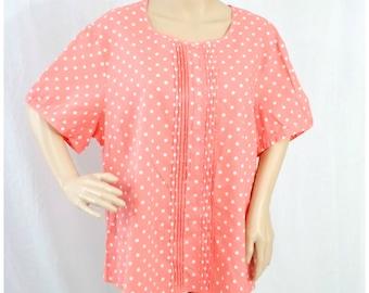 Pink Polka Dot Blouse Top / Cotton Blouse / Polka Dot Top / Button Up Polka Dot / Vintage Blouse / Summer Blouse  / Top Blouse XL XXL XLarge